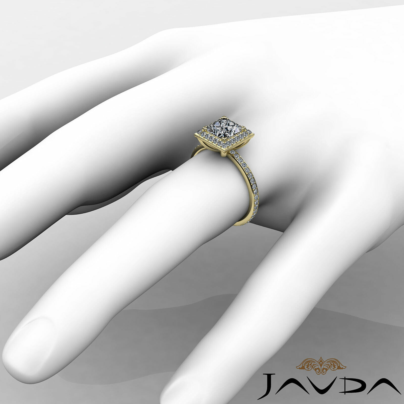 Halo Pave Set Princess Cut Diamond Engagement Ring GIA G Color VS1 Clarity 2.5Ct 10