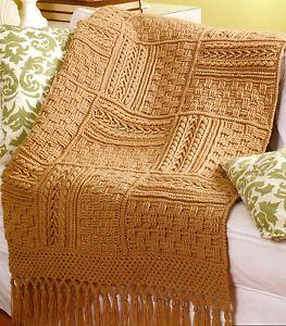 Crochet Pattern ~  Aran Sampler Throw with Fringe 60