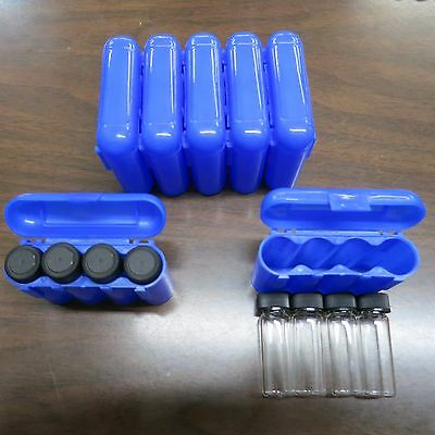 4 - 1 Dram Glass Vials With A Carrying Case Storage Case Blue