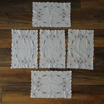 5 x Matching Vintage Placemats Grey Embroidered White Scalloped Edge 40 x 27cm