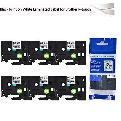 6pk Black On White Label Tape For Brother Pt-p750w Tz-231 Tze-231 12mm 0.47
