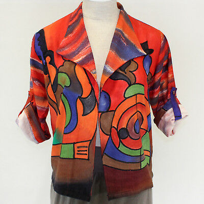 New Dilemma Plus Gockel Inspired Raw Silk Thick Cardigan Top Os Fits Xl 1X 2X