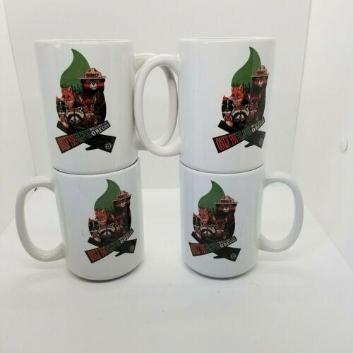 Smokey The Bear White Wallowa Lake Oregon Coffee Cup Mug Lot Of 4 New W/Sticker