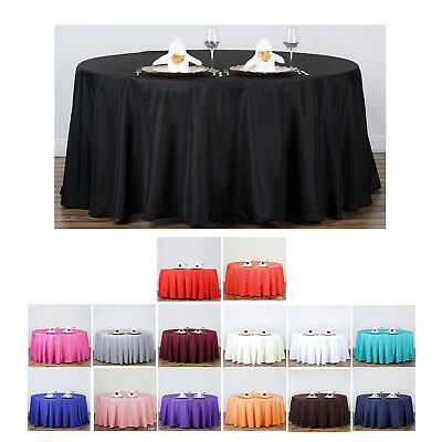"""132"""" Round Polyester Tablecloth For Wedding Party Banquet Ev"""
