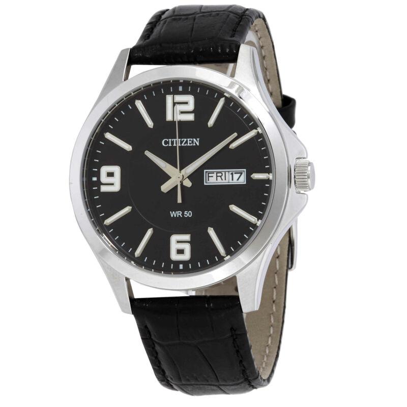 Citizen-Quartz-Black-Dial-Black-Leather-Men-Watch-BF2001-04E