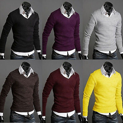 Men's Slim Fit Long Sleeve V-neck Knitted Cardigan Pullover Jumper Sweater Tops