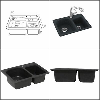 Kitchen Sink Bowl Drop In Undermount 25 in. 1 Hole Drilled Double Basin Black