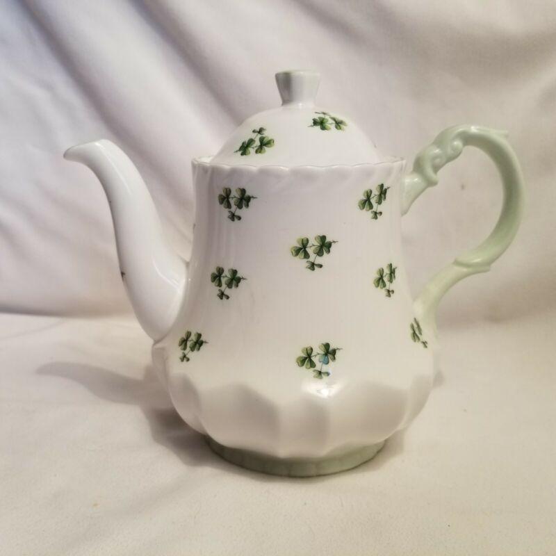 queens fine bone china shamrock teapot england rosina china co