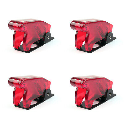 4pcs Toggle Switch Boot Plastic Safety Flip Cover Cap 12mm Clear Red Ss