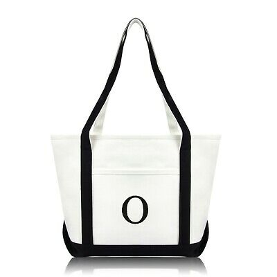 DALIX Medium Personalized Tote Bag Monogrammed Initial Letter - O](Initial Tote Bags)