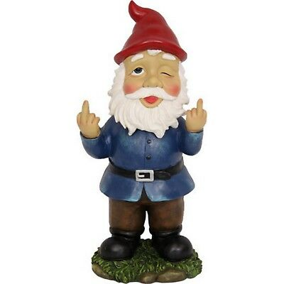 Garden Gnome Up Yours Rude Finger Gnomes Statue Novelty Gift Bobble Head Resin ()
