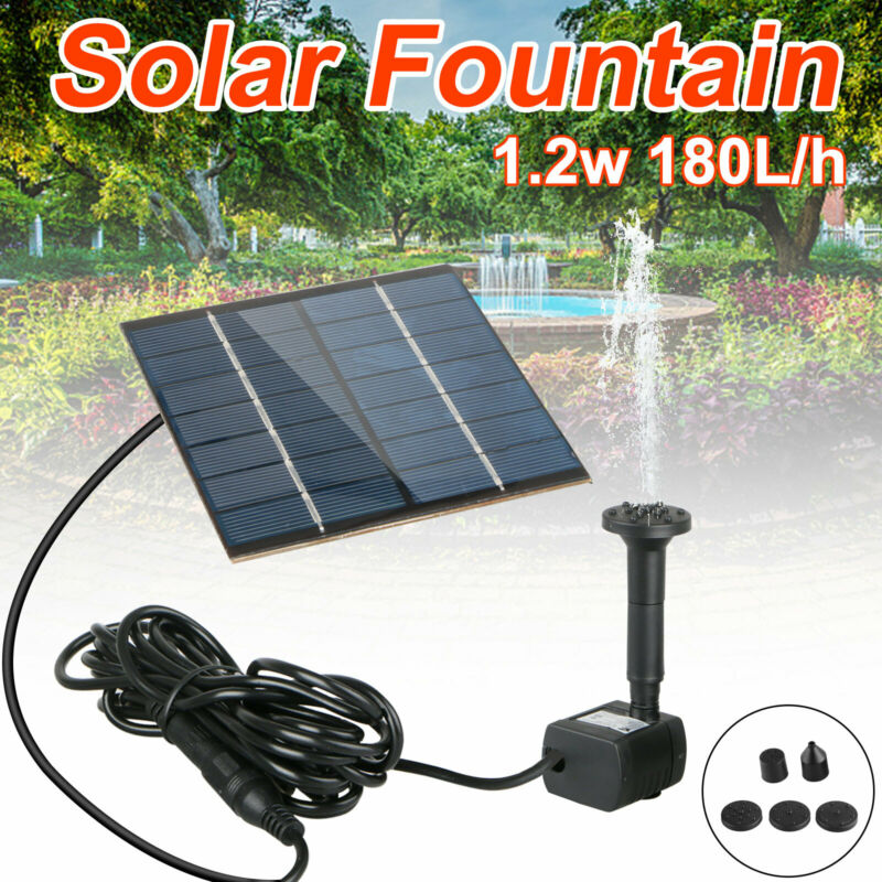 Brushless Solar Water Pump Power Panel Kit Fountain Pool Garden Watering 180L/H