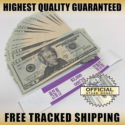 100x $20 Bills Stage Fake Prop Money Stack For Film, Movies, TV, & Music Videos