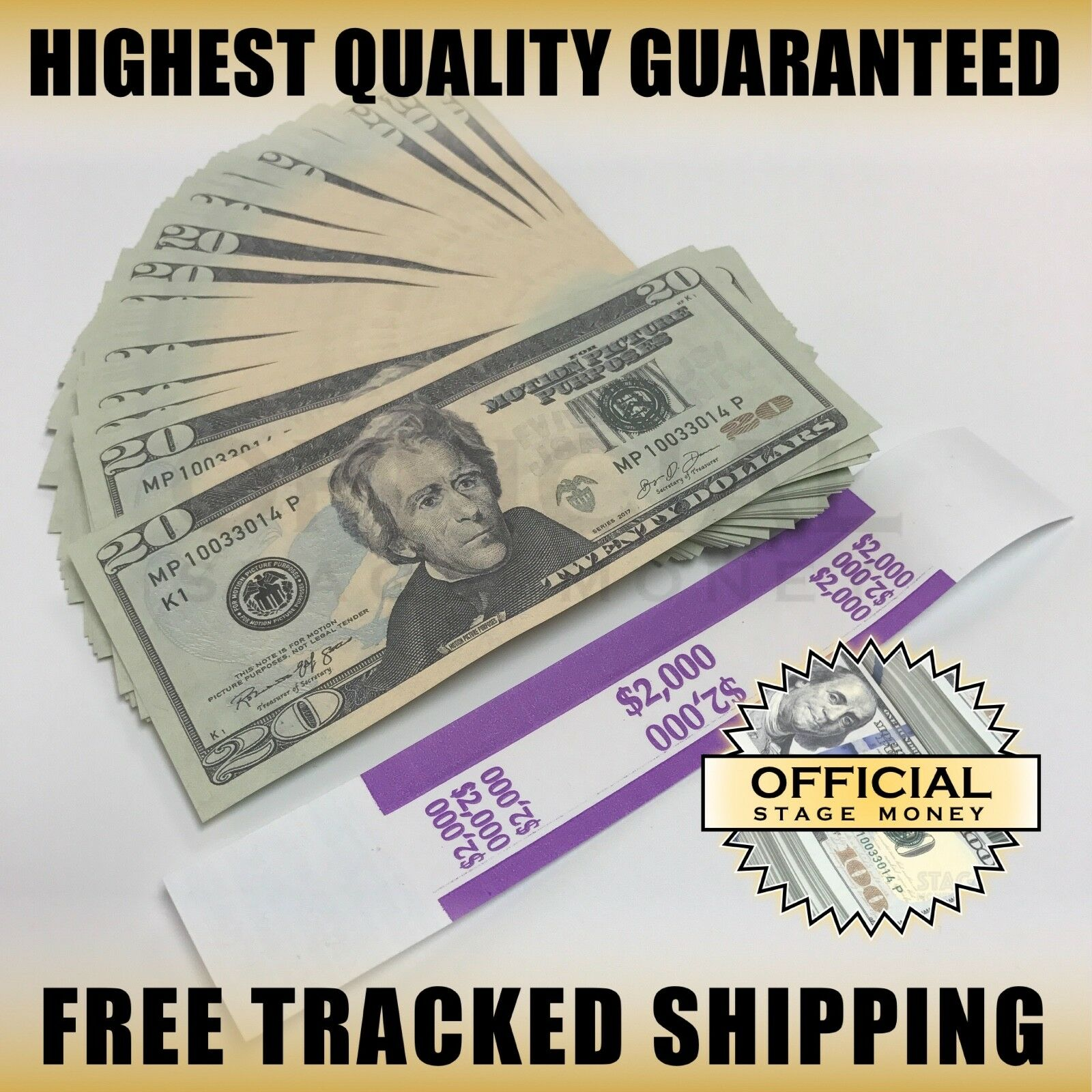 100x $20 Bills Stage Fake Prop Money Stack For Film, Movies, TV, & Music Videos