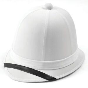 b00e4f9f6c72a Pith Helmet White Boer War Hat Soldier Africa Adults Fancy Dress Accessory