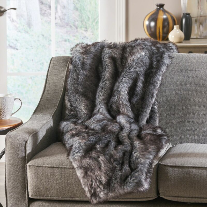 Laraine Modern Glam Rectangular Taupe Faux Fur Throw Blanket