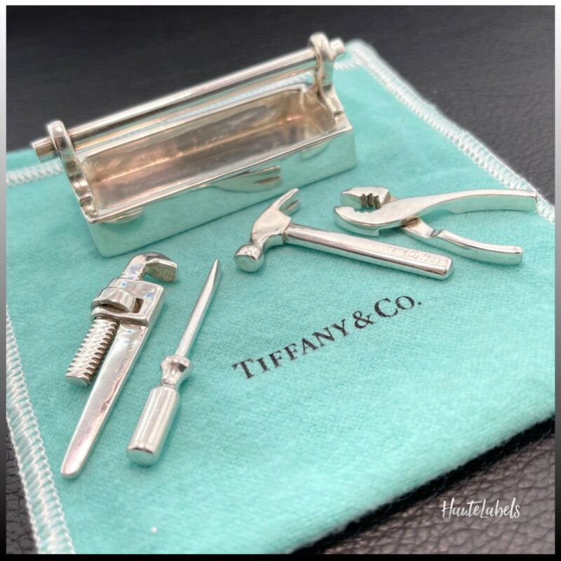 TIFFANY & Co Sterling Silver 925 Miniature Toolbox & Tools / Rare Find / Signed