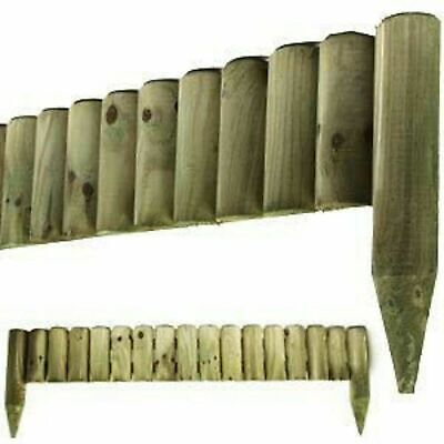 6x 1M Log Roll Border Fixed Picket Fence Edge Garden Outdoor Lawn Edging