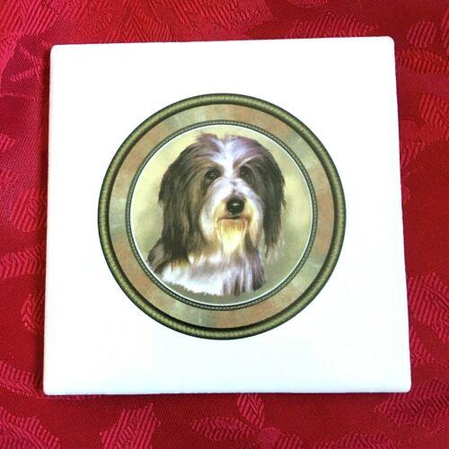 """Tile Trivet Bearded Collie New Handmade Ceramic Porcelain 4.25"""" x 4.25""""  Fired"""