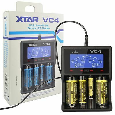 XTAR VC4 USB Charger LCD Display Li-ion Ni-MH 14500 18650 26650 AA AAA Battery
