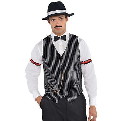 Erwachsene Herren 1920er Jahre Gangster Mafia Nadelstreifen Weste Kostüm Zubehör ()