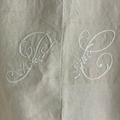 Metis  PC monogram Antique French Linen Sheet shabby chic textile white 74  117