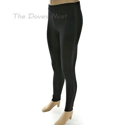 SIMPLY VERA WANG Women's Size 4-6 SMALL Lurex Tuxedo BLACK LEGGINGS Side Sparkle, used for sale  Rock Island
