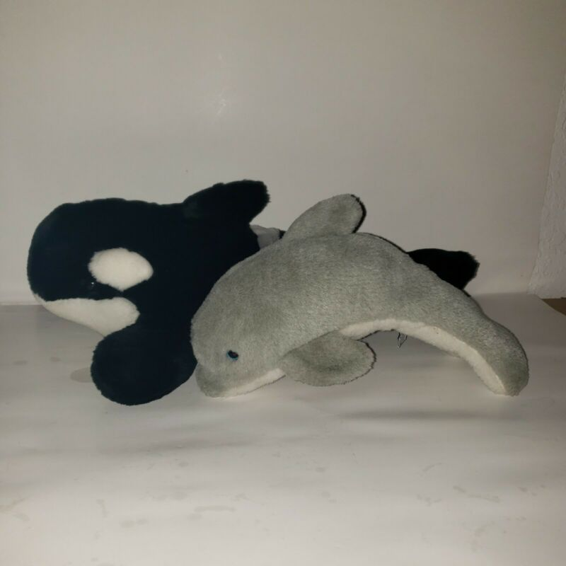 Lot 2 Seaworld Plush 1992 Dolphin Gray Along With Classic Whale Black