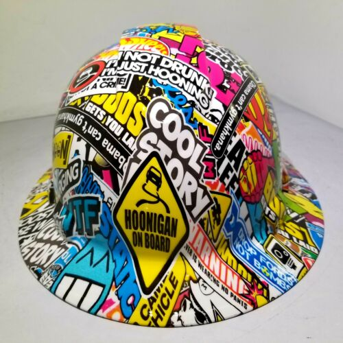 FULL BRIM Hard Hat custom hydro dipped, HOONIGAN STICKER BOMB FULL COLOR NEW