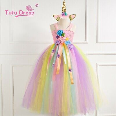Flower Girls Unicorn Tutu Dress Princess Girls Birthday Party Dress Up ZG9 - Girls Dress Up Tutu