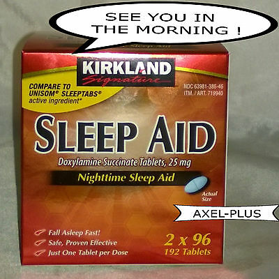 192 Tablets Kirkland Signature Nighttime Sleep Aid Doxylamine Succinate 25 mg,