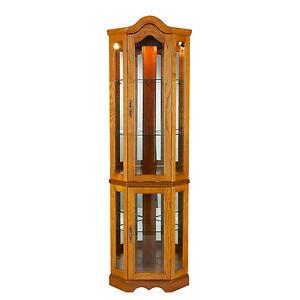 Mc59060 Oak Lighted Corner Curio Cabinet