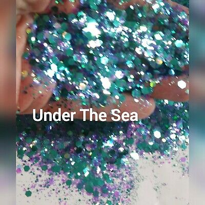 2 oz by weight Under The Sea Chunky glitter mix nails face tumbler - Under The Sea Font