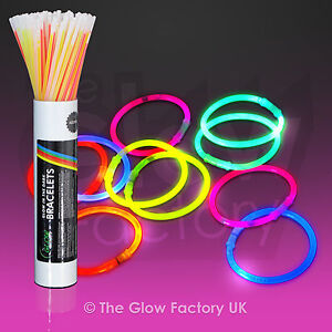 "Wholesale Glow Sticks Glow Bracelets 8"" Glowsticks Neon Bulk - FREE P&P + TORCH"