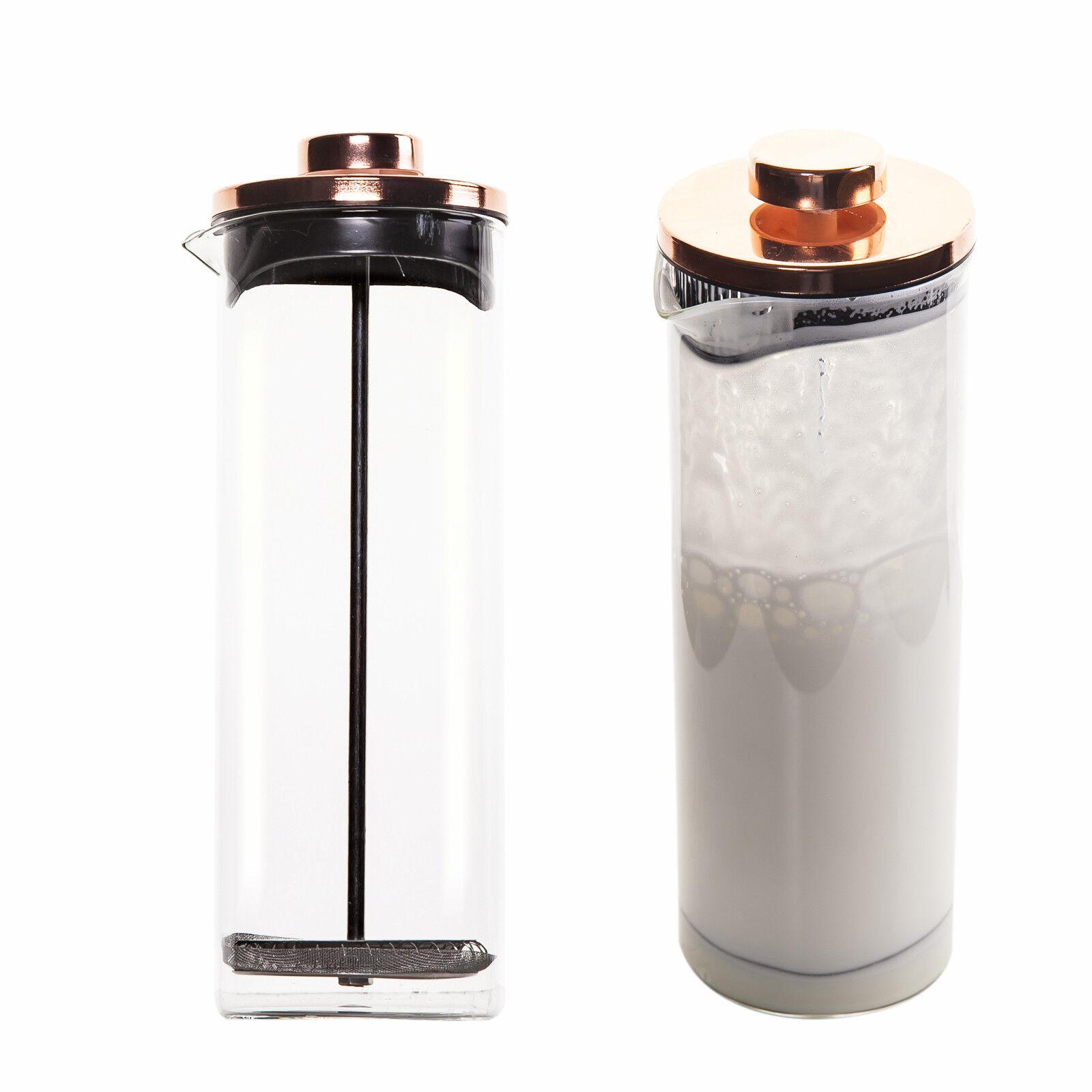 Milchaufschäumer aus Glas Füllmenge 500 ml manueller Milchschäumer Cappuccino