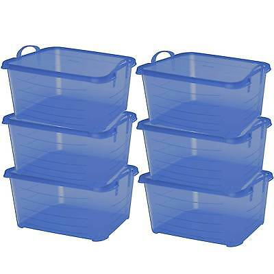 Life Story Blue Stackable Closet & Storage Box 55 Quart Containers, (6 Pack) (Stackable Containers)