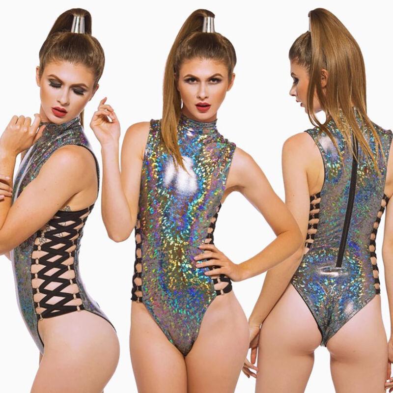 Damen Holographic Monokini Bikini High Neck Einteiler Bademode Badeanzug Cut Out