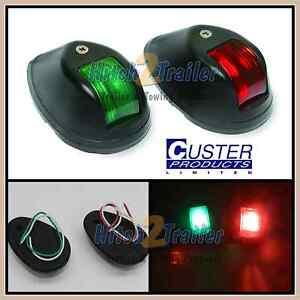 Pair 12Volt Marine Boat 6 LED Bi-color Bow Navigation Lights Red & Green Custer