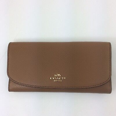ef17ce360eb6a7 New Authentic Coach F16613 Pebble Leather Checkbook Wallet Saddle Brown