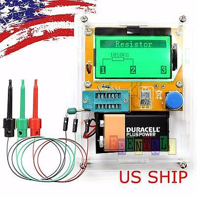 Test Cables & Cased 12864 Mega328 ESR Transistor Resistor Diode Capacitor Tester