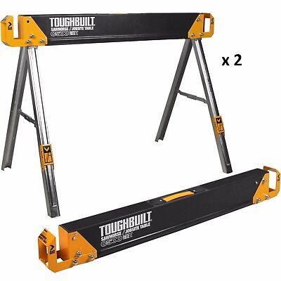 "NEW 2-Pack Toughbuilt 41.5"" Steel Saw Horse Portable Folding Pair Heavy-Duty"