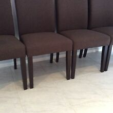 8 x Dining chairs brown fabric solid timber legs kitchen entertaining Endeavour Hills Casey Area Preview