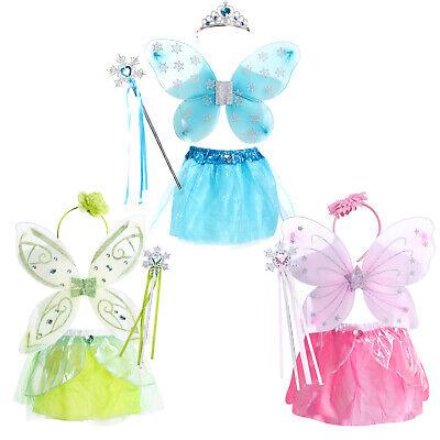 Feen Fee Elfe Märchen Kostüm Kleid Kinder Mädchen Waldfee Karneval Feenkostüm