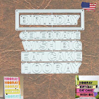 Wish Big Sentiments Words Cutting Dies Set w Frame Birthday Celebrate Hooray +
