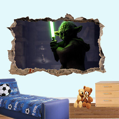 STAR GALACTIC WARS YODA WALL STICKERS 3D ART MURAL ROOM OFFICE POSTER DECOR TW7