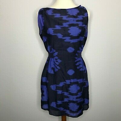 Banana Republic Womens Dress Blue Print Sleeveless Silk Blend Lined Size 8