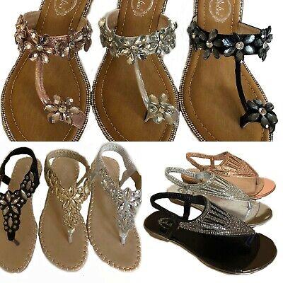 Black Silver Gold Pink Beaded Rhinestone Toe Ring Flip Flops Thongs Sandals (Rhinestone Silver Sandal)