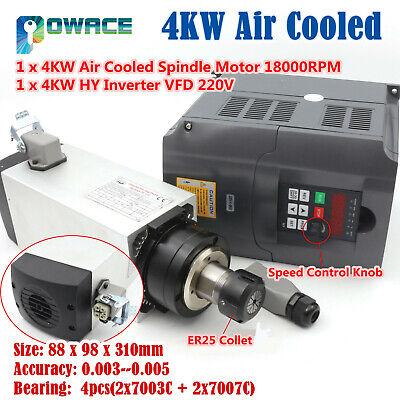 Cnc Router Er25 4kw 220v Air Cooled Spindle Motor 4bearing 300hz4kw Hy Inverter