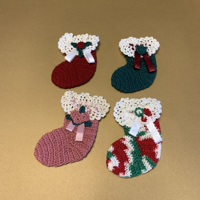 Christmas Stocking Ornaments (Set Of 4) Handmade Crochet 100% cotton size 10