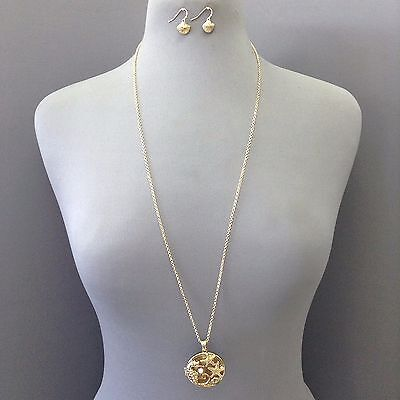 Gold Sea Horse Starfish Sea Life Open Circle Pendant Necklace With Earrings Set ()